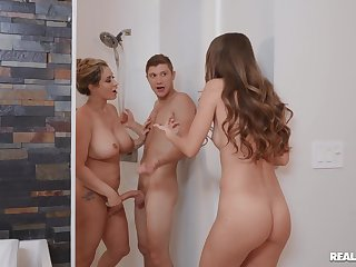 Mommy tries daughter's boyfriend for a naked shower fuck