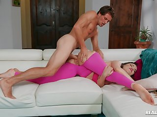 Aroused MILF fucked by the young trainer during their gauge