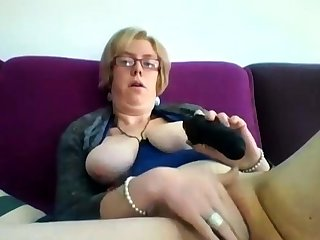 Chubby mature blonde Iveta toying her fat cunt