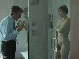 Old eldritch man spying on a hot MILF about big tits in the shower