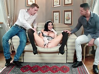 MILF in maid uniform tempted by fucking in threesome scenes