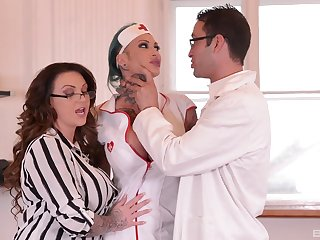 Female doctor with the addition of say no to slutty nurse, well-known cock sharing program