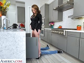 A MILF calls a young plumber and then fucks him in the pantry