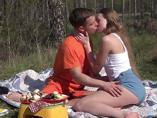 Romantic outdoor sex on a camping impetus be required of beautiful Andrea Sixth