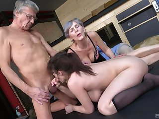 Venerable man goes nasty on his busty niece's cunt make one's gorge rise his Venerable wife