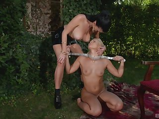 Amazing alfresco Lezdom session around sexy Terra and Lucy Li