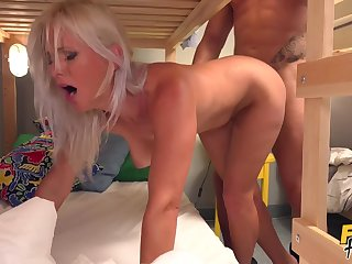 Blonde MILF Kathy hooks regarding with some clothes-horse in hostel. What a slut!