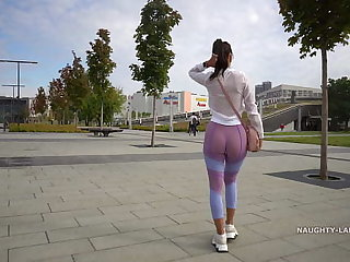 Transparent leggings added to sheer shirt close to public