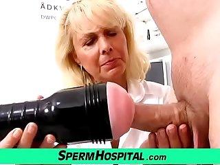 Fair-haired lady doctor Koko old around young CFNM exam and handjob