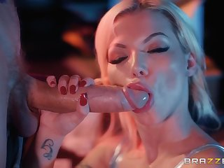 Glamour buxom MILF Barbie Sins blows huge dick all over ravishing porn clip
