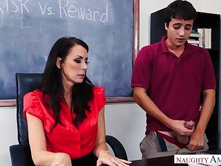Fantastic downcast MILFie tutor is effective with riding strong cock on chum around with annoy desk