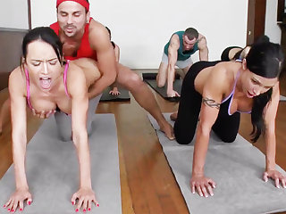 Obscene yoga bombshells acquiring humped in a 4some