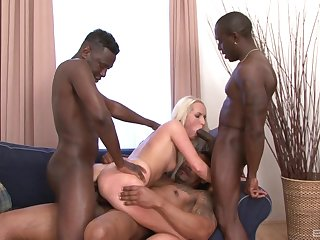 Sexy blonde babe tries hard sex with three black thugs