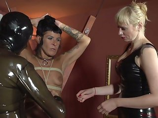 Perverted mistress Lorena Lee and yoke kinky cooky punish cock be advisable for submissive dude hither latex