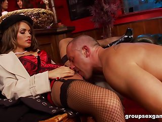 Amy Azzura with the addition of Anna Lovato fucked in a nasty massive group sex