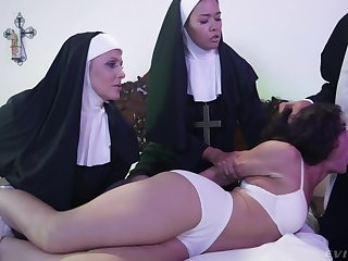Horny Victoria Voxxx needs two nuns and a priest to exorcise the demon out of say no to cunt