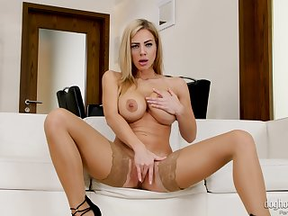Erotic reverie solo sex with a busty mom in sexy stockings