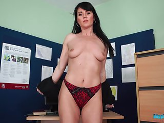 Sexy office whore telling you to fap as she takes off her clothes sexily